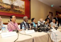 The Advisory Commission on Rakhine State holds a press conference at Sule Shangri-la Hotel in Yangon on December 6, 2015. (Photo by Aung Kyaw Moe / Advisory Commission on Rakhine State)